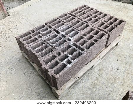 Cement Tile Blocks On The Street For Building.