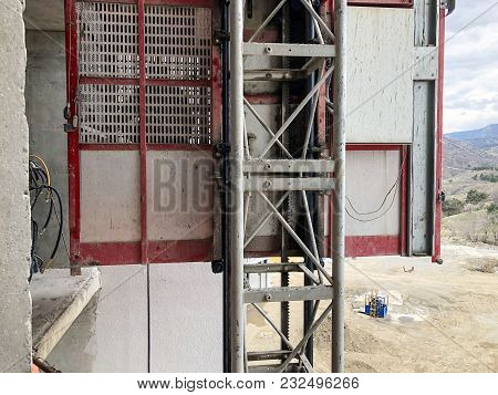 Elevator For Material Handling At Construction Site.