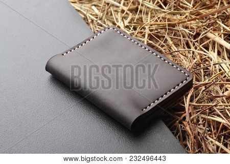 Brown Card Holder. Hand Made Leather Man Card Holder. Multi Colored. Leather Craft.on Creative Backg