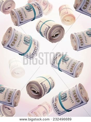 Rolls Of One Hundred Dollar Bills. Abstract Money Background