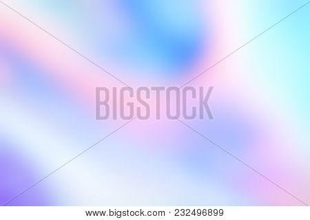 Holographic Foil Blurred Abstract Background For Trendy Design. Holo Sparkly Cover With Soft Pastel