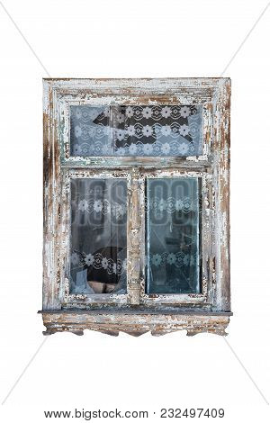 Old Window With Broken Glass Isolated On White Background, Old Tulle In The Background, Traces Of Ag