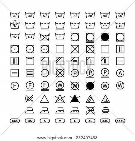 Clothing Washing Label Instructions, Laundry Symbols Icon Set, Washing Label Icons For Clothes