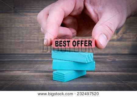 Best Offer. Business Concept With Colorful Wooden Blocks.