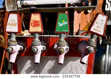 Jerome, Arizona, January 30, 2018: The Faded  Coke And Sprite Spigots Are Products Of Coca Cola, A S