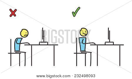 Good And Bad Posture In Front Of The Computer. Vector Educational Illustration