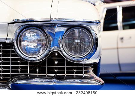 Round Car Headlights In Retro Style Close Up