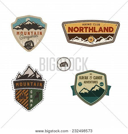 Travel Badge, Outdoor Activity Logo Collection. Scout Camp Emblem Set. Vintage Hand Drawn Travel Bad