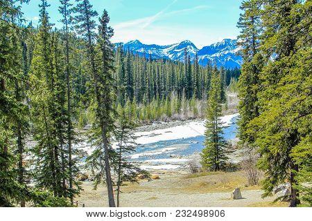 Crescent Falls And Big Horn River, Crescent Falls Provincial Recreation Area, Alberta, Canada
