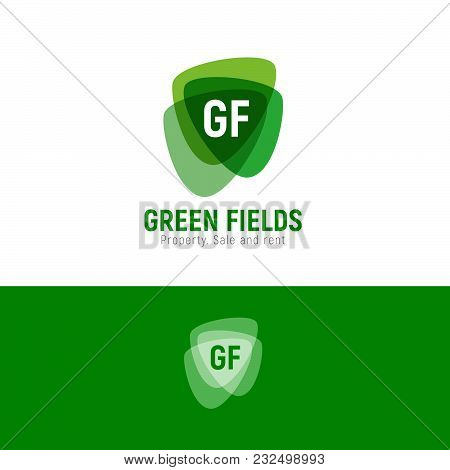 Green Fields Property Logo. Real Estate Emblem. The Property. Sale And Rent. Green Transparent Figur