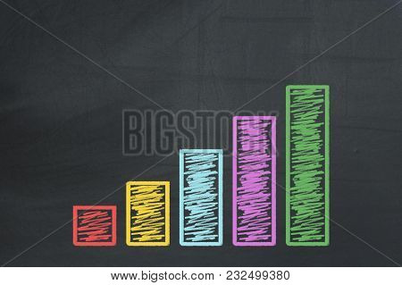 Colorful Business Chart On The Black Chalkboard