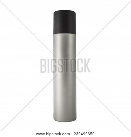 Silver Cosmetic Spray Bottle Pack Of Hairsprayl. Ready For Your Package Design. Isolated On White Ba