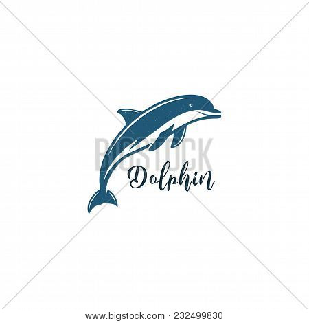 Dlphin Black Icon. Silhouette Symbol Of Dolphin Isolated On White Background. Wild Animal Pictogram