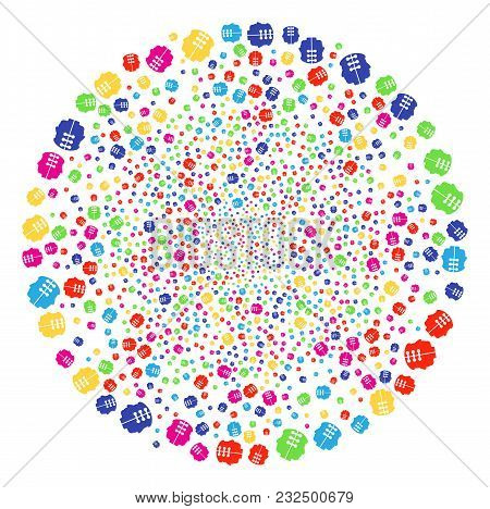 Colorful Dual Head Interface Burst Globula. Vector Round Cluster Salute Combined With Scattered Dual