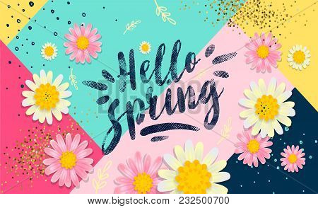 Hello Spring Banner. Trendy Texture. Season Vocation, Weekend, Holiday Logo. Spring Time Wallpaper.