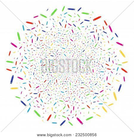 Psychedelic Edit Pencil Explosion Round Cluster. Vector Cluster Burst Done From Scattered Edit Penci
