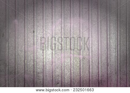 Wall Of Sheet Metal. Beautiful Blank Background With Color Overflows. Texture Of Corrugated Metal. P
