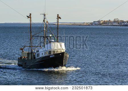 New Bedford, Massachusetts, Usa - March 19, 2018: Fishing Vessel Brizo, Hailing Port Owls Head, Main