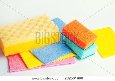 Set Of Cleaning Sponges, Cleanliness Housekeeping Concept, Consumables