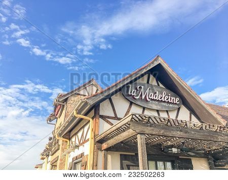 Facade Of La Madeleine Quaint French Cafe With Rustic Country Fare Design