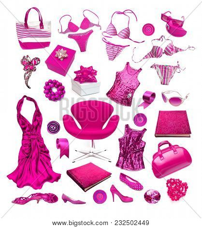 Fashion things on white background. Pink fashion things. ?ollection things on white background