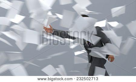 businessman going against the paper wind, 3d illustration