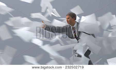 businessman going against the wind, 3d illustration