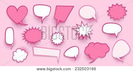 Colorful Dialog Empty Cloud For Comic Text. Colored Announced Speech Balloon Comics Book Sketch Expl