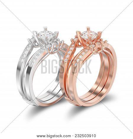 3d Illustration Isolated Two Rose And White Gold Or Silver  Two Shanks Decorative Diamond Rings With