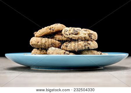 Close Up Shot Of Chocolate Chip Cookies On Plate