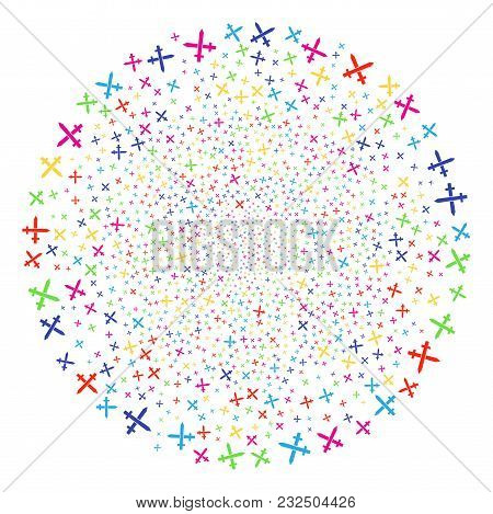 Multicolored Crossing Swords Bang Spheric Cluster. Vector Sphere Fireworks Created With Scattered Cr