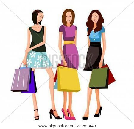 three shopping women
