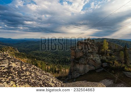 Beauty view in mountains of Altai. Kolyvan range - a mountain range in the north-west of the Altai Mountains, in the Altai Territory of Russia