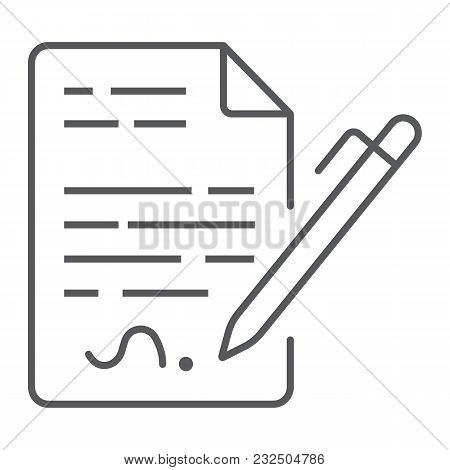 Contract Thin Line Icon, Agreement And Signature, Deal Sign Vector Graphics, A Linear Pattern On A W