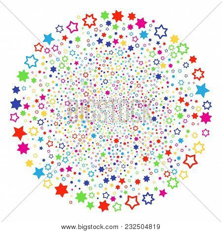 Colorful Decoration Stars Festival Globula. Vector Round Cluster Salute Created With Random Decorati