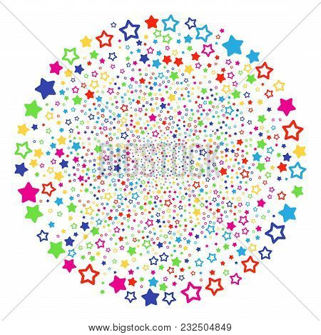 Multi Colored Decoration Stars Fireworks Globula. Vector Cluster Fireworks Combined With Scatter Dec