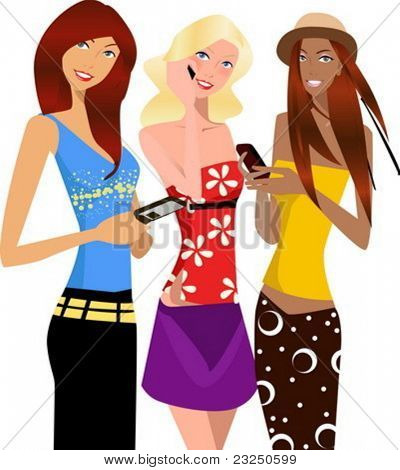drei Business-Frauen, die am Telefon / Handphone