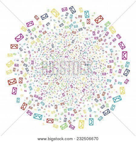 Psychedelic Envelope Exploding Spheric Cluster. Vector Cluster Bang Designed From Randomized Envelop