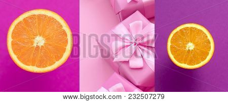 Banner Juicy Ripe Orange On A Pink Background. Festive Collage Boxes With Gifts. Advertising Poster