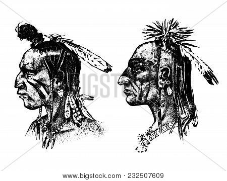Native American Indian man with headdress and feathers. North or west head mascot of Sioux. traditional culture. half-face, engraved hand drawn realistic in old sketch, vintage style poster