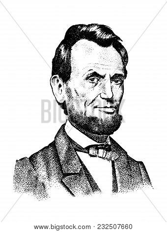 Abraham Lincoln Portrait, 16th Usa President. Gentleman Engraved Hand Drawn Realistic In Old Vintage