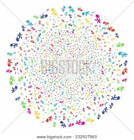 Multicolored Fired Running Man Fireworks Globula. Vector Cluster Fireworks Created By Randomized Fir