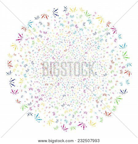 Multicolored Fireworks Explosion Exploding Sphere. Vector Round Cluster Fireworks Created With Rando