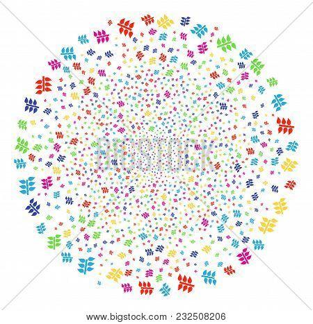 Colorful Flora Plant Salute Spheric Cluster. Vector Spheric Cluster Burst Organized From Random Flor