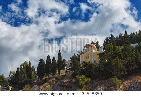 Church On The Slope Of The Island Of Symi. Greece