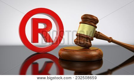 Registered Trademark Law And Legal Business Concept With Red Trade Mark Symbol And Gavel 3d Illustra