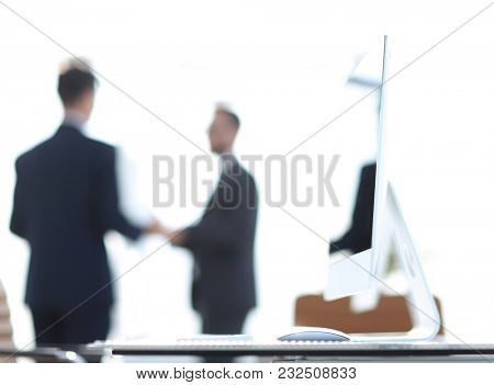 background image.employees in the office.