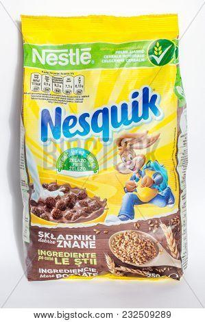 Pruszcz Gdanski, Poland - March 20, 2018: Nestle Nesquik Breakfast Cereal For Breakfast.