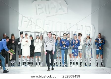 Zagreb, Croatia - March 21, 2018 : Fashion Designer Anthony Avangard With Models Wearing Clothes For