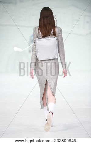 Zagreb, Croatia - March 21, 2018 : Fashion Model Wearing Clothes For Spring - Summer, Designed By An